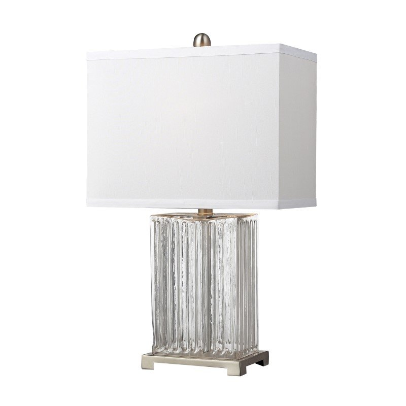 Dimond Lighting Ribbed Clear Glass Table Lamp in Brushed Steel (D140)