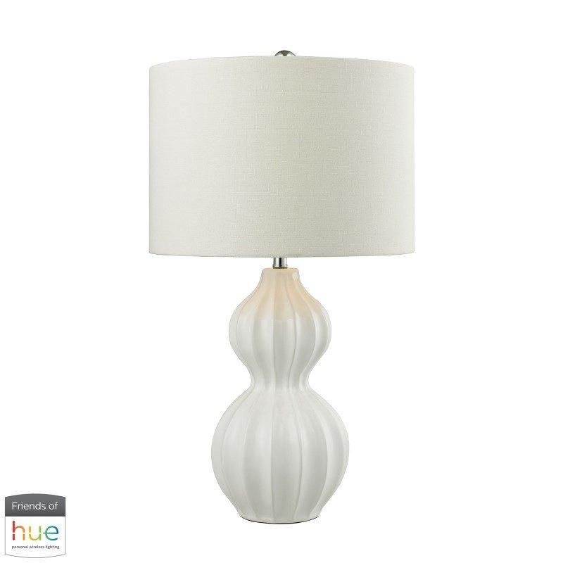 Dimond Lighting Ribbed Gourd Table Lamp in Gloss White Ceramic with Philips Hue LED Bulb/Bridge (D2575-HUE-B)