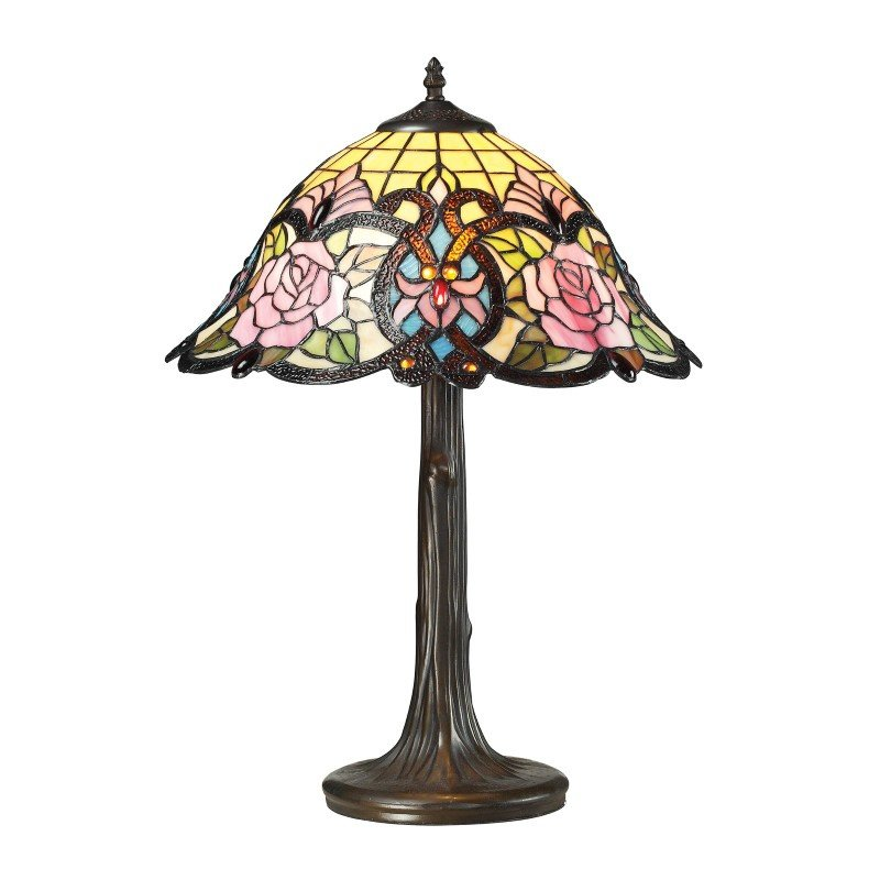 Dimond Lighting Rosedale Tiffany Glass Table Lamp in Tiffany Bronze (72081-1)