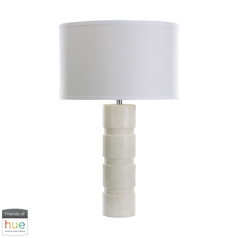 Dimond Lighting Round Stacked Marble Table Lamp with Philips Hue LED Bulb/Dimmer (8989-002-HUE-D)