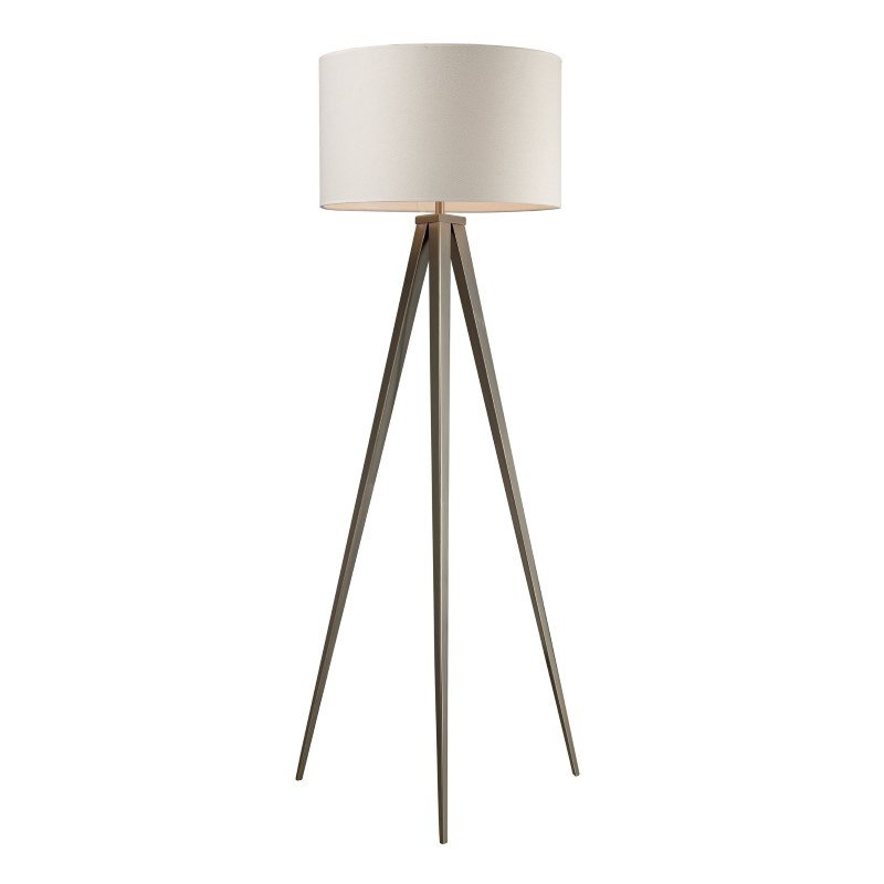 Dimond Lighting Salford Floor Lamp In Satin Nickel With Off White Linen Shade (D2121)