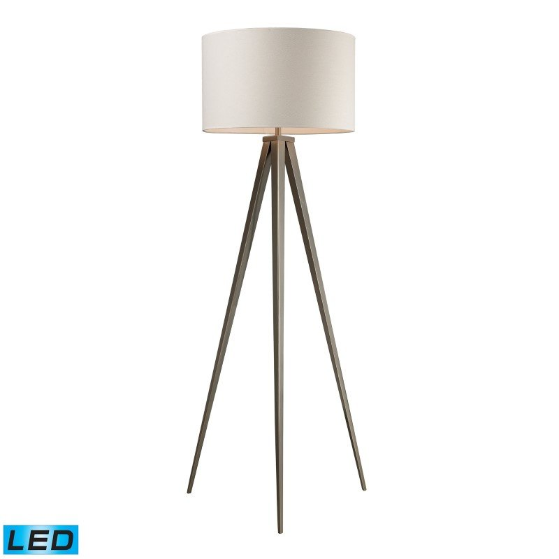 Dimond Lighting Salford LED Floor Lamp In Satin Nickel With Off White Linen Shade (D2121-LED)
