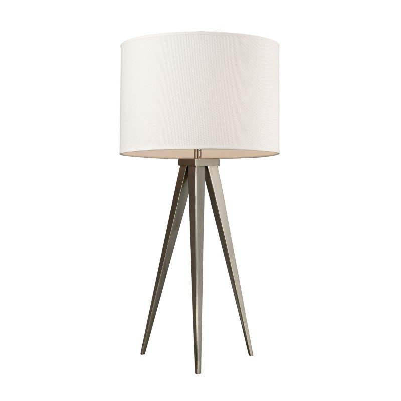 Dimond Lighting Salford Table Lamp In Satin Nickel With Off White Linen Shade (D2122)