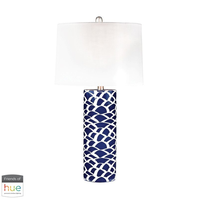 Dimond Lighting Scale Sketch Table Lamp in Blue and White with Philips Hue LED Bulb/Bridge (D2792-HUE-B)