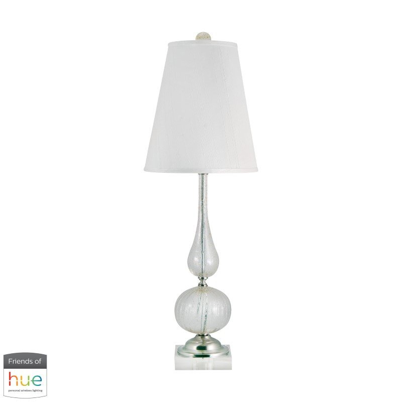 Dimond Lighting Serrated Venetian Glass Table Lamp in Clear and Gold with Philips Hue LED Bulb/Dimmer (316-HUE-D)