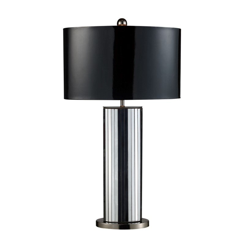 Dimond Lighting Shreve Table Lamp In Mirror And Black Nickel With Oval Black Patent Faux Leather Shade And Silver Fabric Liner (D1893)