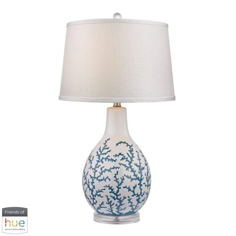 Dimond Lighting Sixpenny Blue Coral Table Lamp in White with Philips Hue LED Bulb/Dimmer (D2478-HUE-D)
