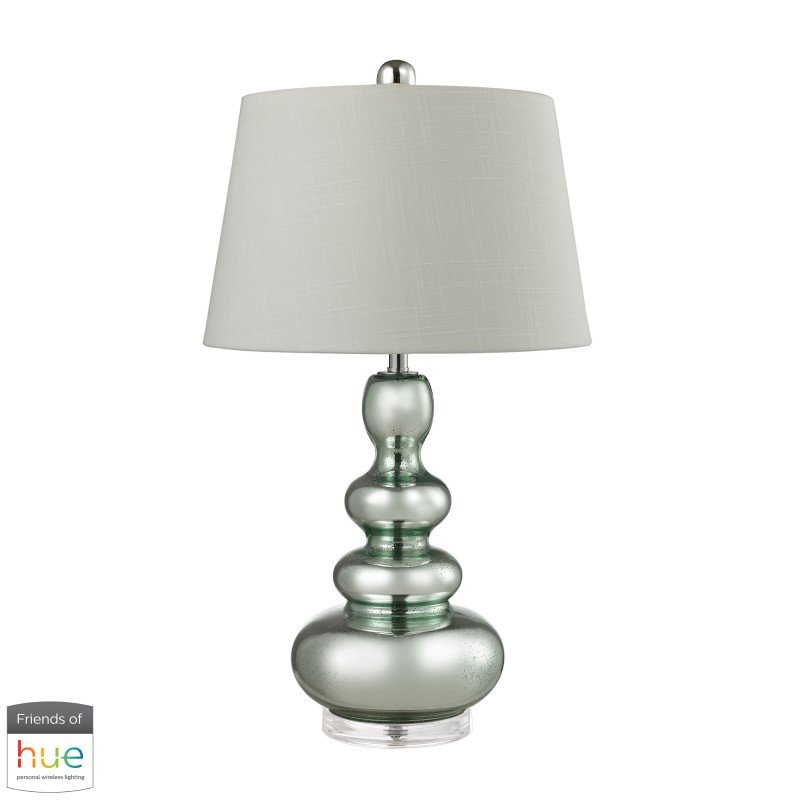 Dimond Lighting Stacked Gourd Table Lamp in Silvery Mercury with Green Accents with Philips Hue LED Bulb/Dimmer (D2557-HUE-D)