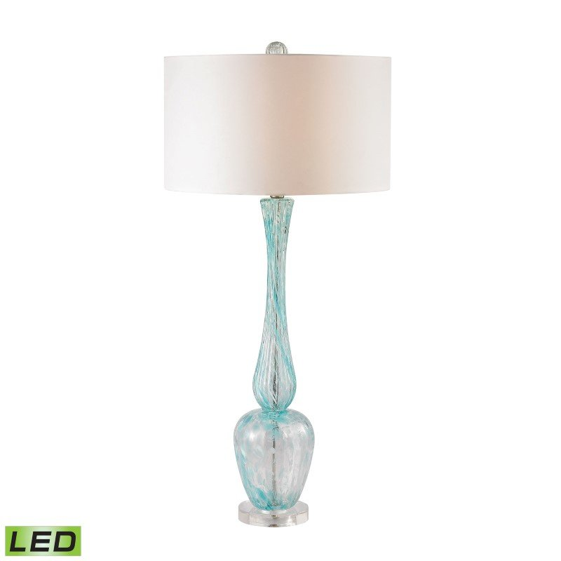 Dimond Lighting Swirl Glass LED Table Lamp in Light Blue With White Faux Silk Shade (D2662-LED)