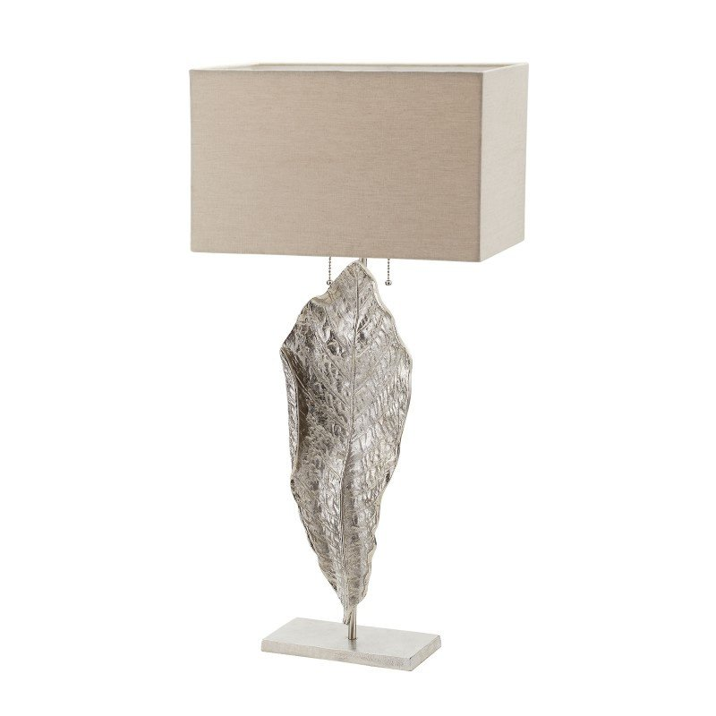 Dimond Lighting Tall Leaf Table Lamp in Nickel With Natural Linen Shade (468-031)