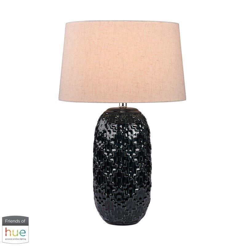 Dimond Lighting Teal Ceramic Bun Table Lamp with Philips Hue LED Bulb/Bridge (D2866-HUE-B)