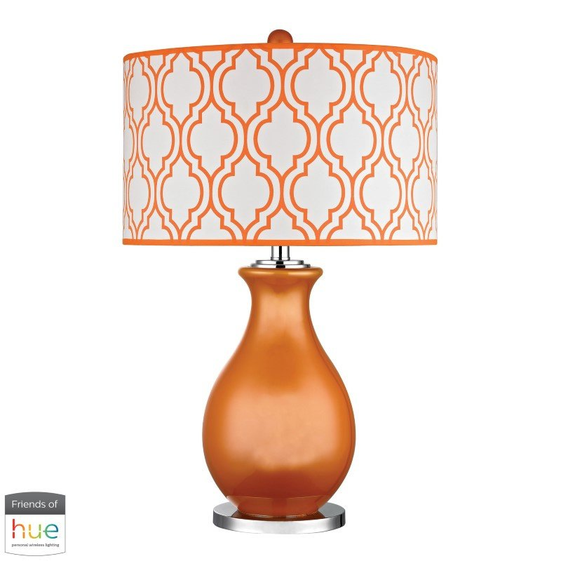 Dimond Lighting ThatCham Table Lamp in Tangerine Orange and Polished Nickel with Philips Hue LED Bulb/Bridge (D2511-HUE-B)