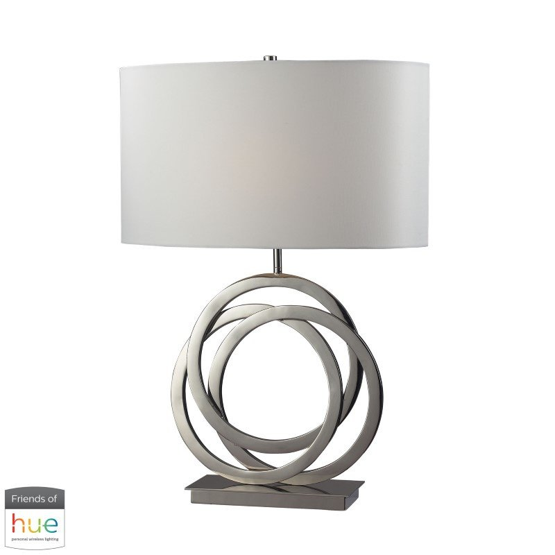 Dimond Lighting Trinity Table Lamp in Polished Nickel with Pure White Shade with Philips Hue LED Bulb/Bridge (D2058-HUE-B)