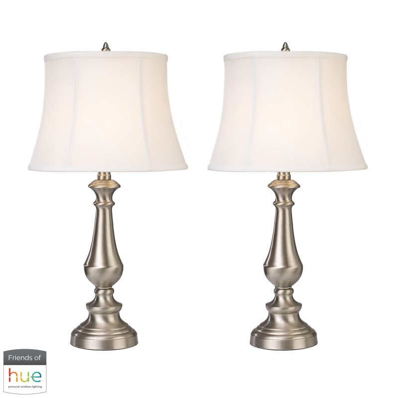 Dimond Lighting Trump Home Fairlawn Table Lamps in Nickel - Set of 2 with Philips Hue LED Bulb/Dimmer (D2366/S2-HUE-D)