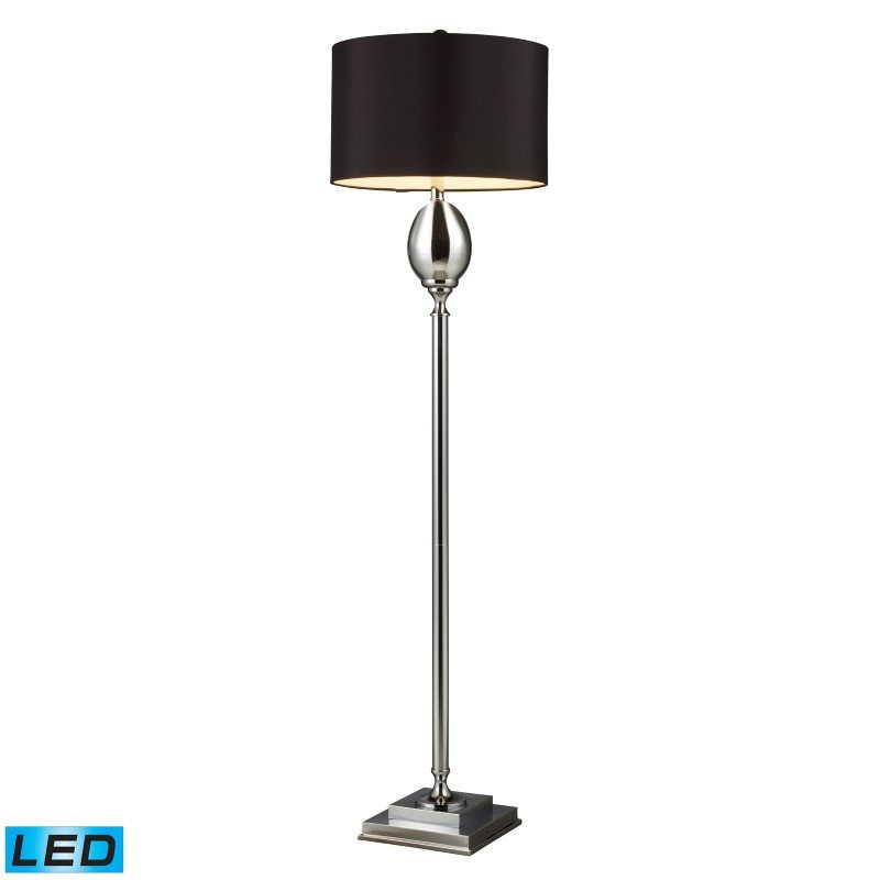 Dimond Lighting Waverly LED Floor Lamp In Chrome Plated Glass With Milano Black Shade (D1427B-LED)