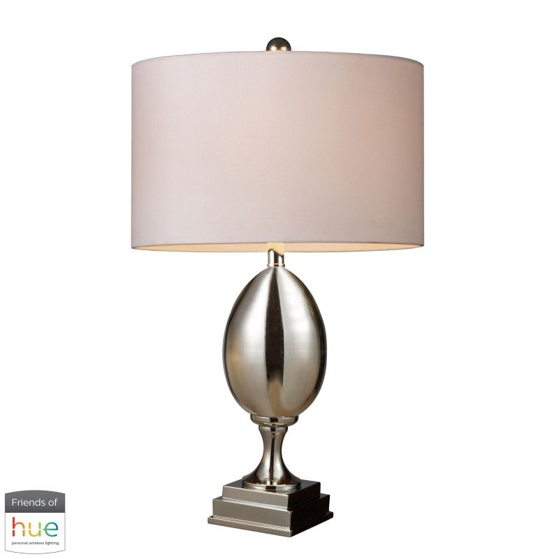 Dimond Lighting Waverly Table Lamp in Chrome Plated Glass with Milano White Shade with Philips Hue LED Bulb/Bridge (D1426W-HUE-B)