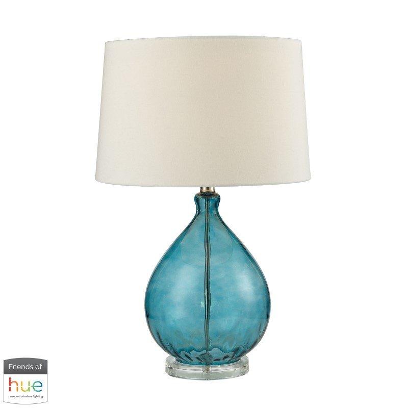 Dimond Lighting Wayfarer Glass Table Lamp in Teal with Philips Hue LED Bulb/Dimmer (D2692-HUE-D)