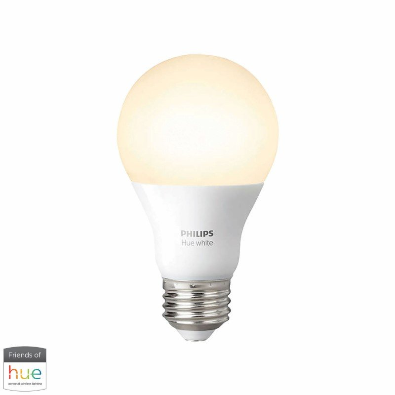 Dimond Lighting White Ceramic Table Lamp with Textured White Linen Hardback Shade with Philips Hue LED Bulb/Dimmer (D2618-HUE-D)