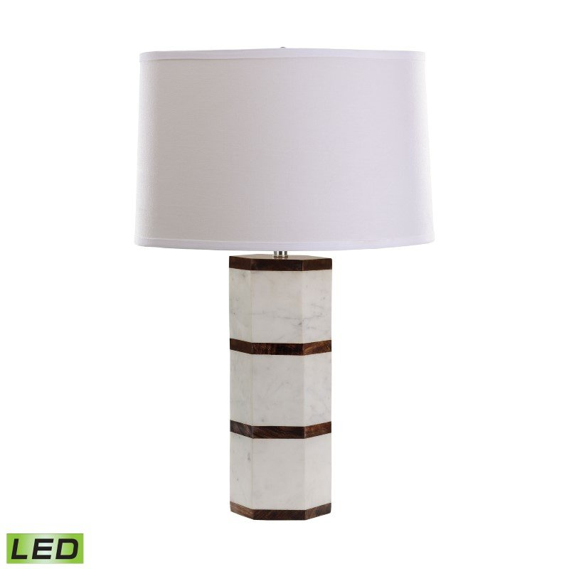 Dimond Lighting White Marble And Wood Hexagon LED Table Lamp (8989-008-LED)