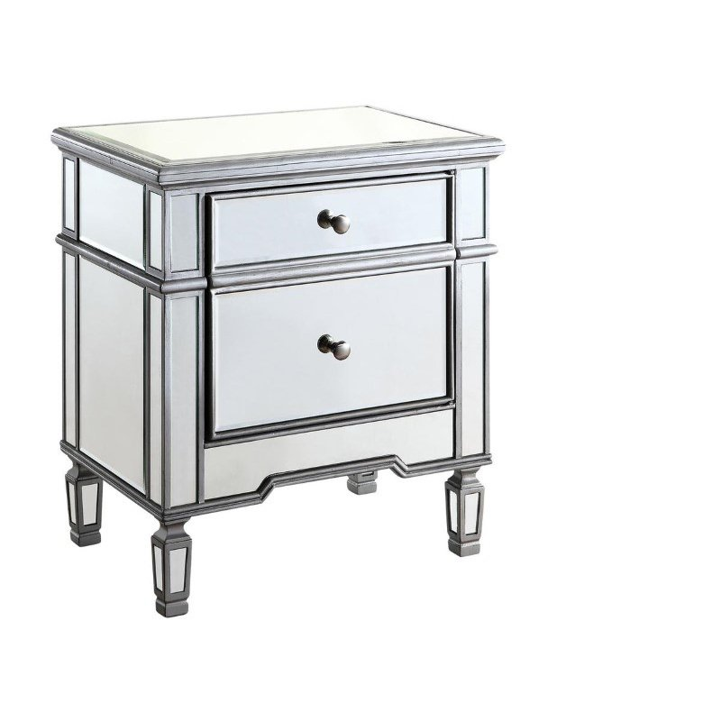 Elegant Decor 1 Door Cabinet 24 in. x 16 in. x 27 in. in Silver paint (MF6-1016S)