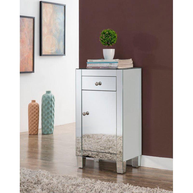 Elegant Decor 1 drawer 1 door cabinet 18 in. x 12 in. x 32 in. in Clear Mirror (MF6-1035)
