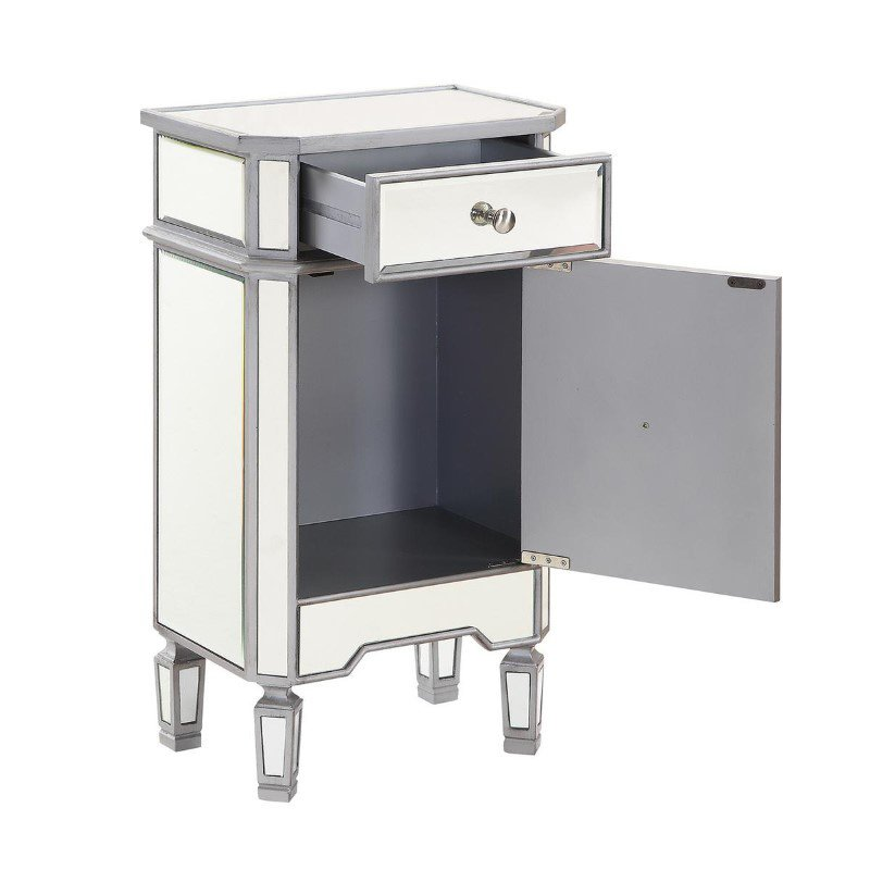 Elegant Decor 1 Drawer 1 Door Cabinet 18 in. x 12 in. x 32 in. in Silver paint (MF6-1015S)