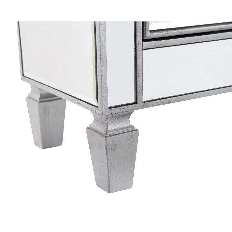 Elegant Decor 1 Drawer 2 Door Cabinet 24 in. x 12 in. x 36 in. in Silver paint (MF6-1020S)