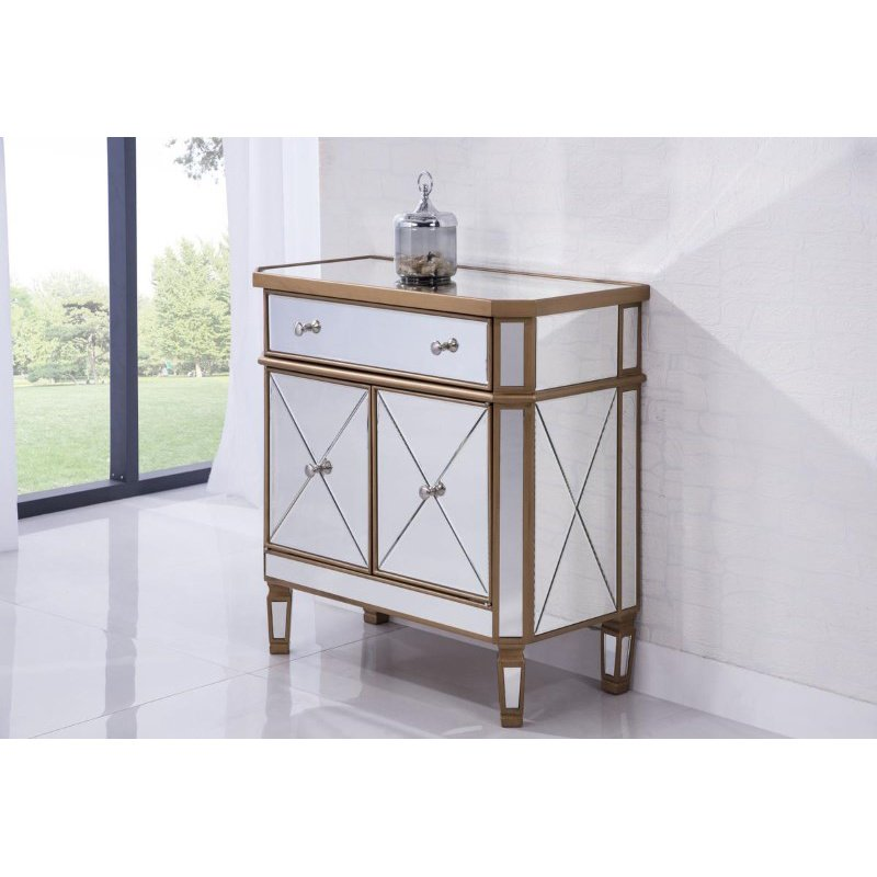 Elegant Decor 1 Drawer 2 Door Cabinet 32 in. x 16 in. x 32 in. in Gold Clear (MF6-1102GC)