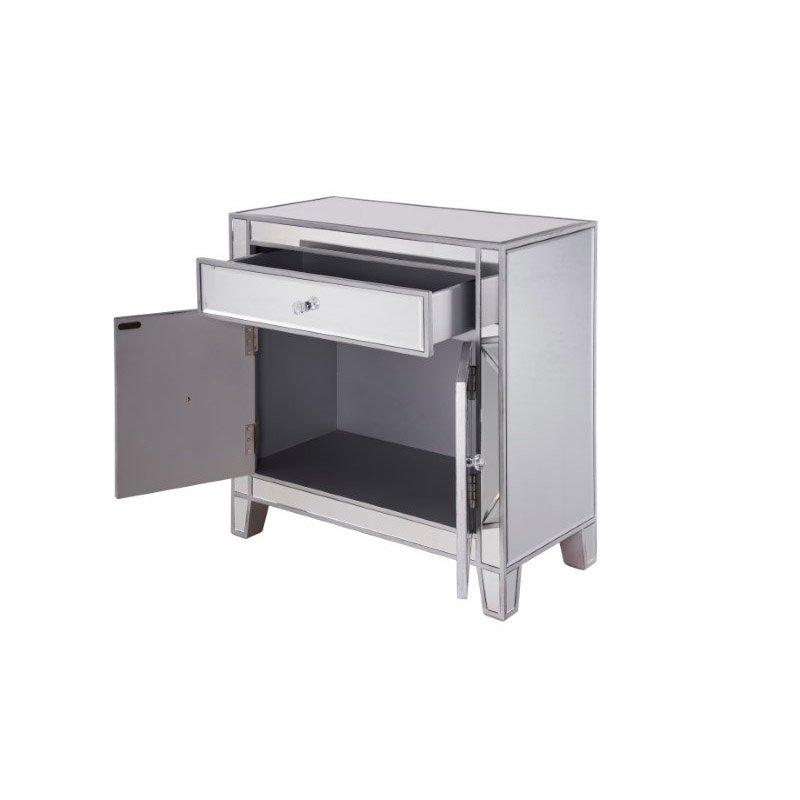 Elegant Decor 1 Drawer 2 Doors Cabinet 28 in. x 13-1/4 in. x 28-1/4 in. in Silver paint (MF6-1034)