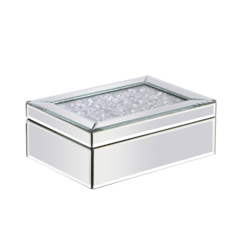 Elegant Decor 10 inch Rectangle Crystal Jewelry Box Silver Royal Cut Crystal (MR9209)