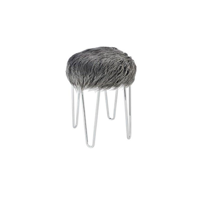 Elegant Decor 13 inch Faux Sheepskin Stool in GREY (AF1005)