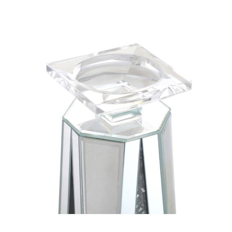 Elegant Decor 15.5 inch tall Crystal Candleholder Silver Royal Cut Crystal (MR9202)
