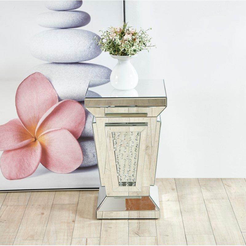 Elegant Decor 15 inch Crystal End Table in Clear Mirror Finish (MF91020)