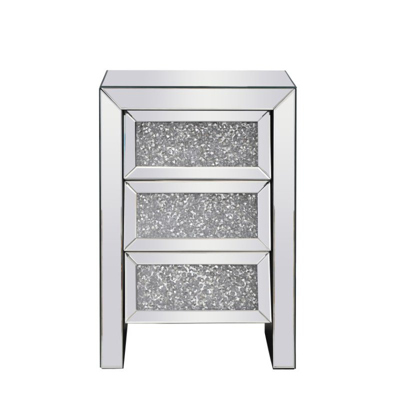 Elegant Decor 17.5 inch Crystal Bedside Table Silver Royal Cut Crystal (MF92014)