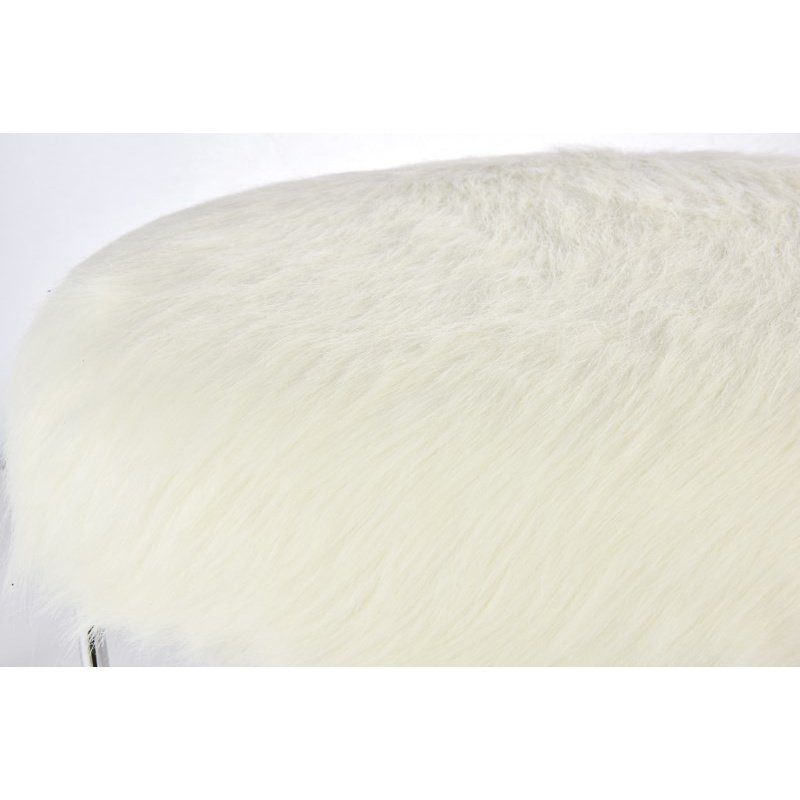 Elegant Decor 17 inch Faux Fur Stool in frosted white (AF1004)