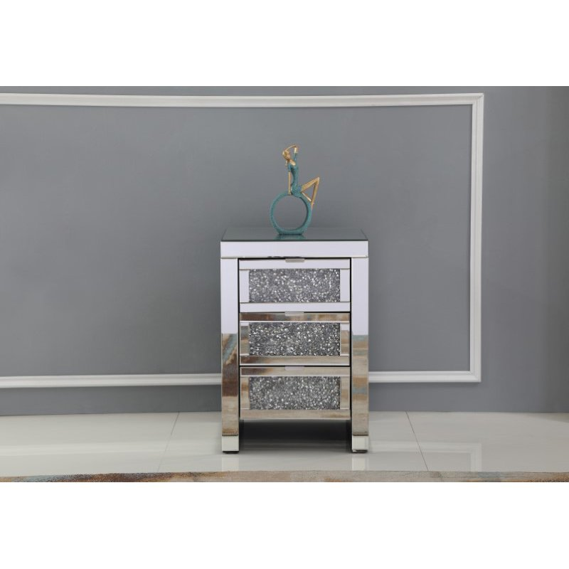 Elegant Decor 18 inch Crystal Bedside Table Silver Royal Cut Crystal (MF92020)