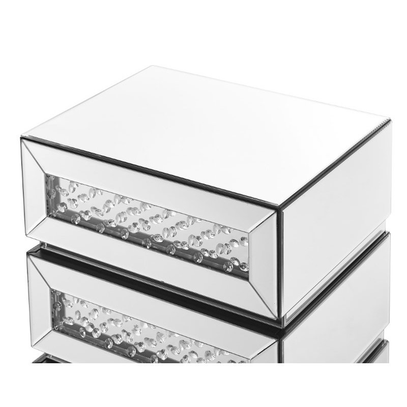 Elegant Decor 18 inch Crystal three drawers Bedside Table in Clear Mirror Finish (MF91009)