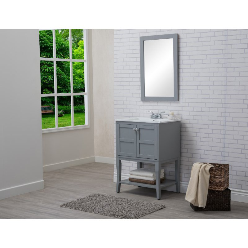 Elegant Decor 2 Doors Cabinet 24 in. x 18 in. x 34 in. in Grey (VF2101)