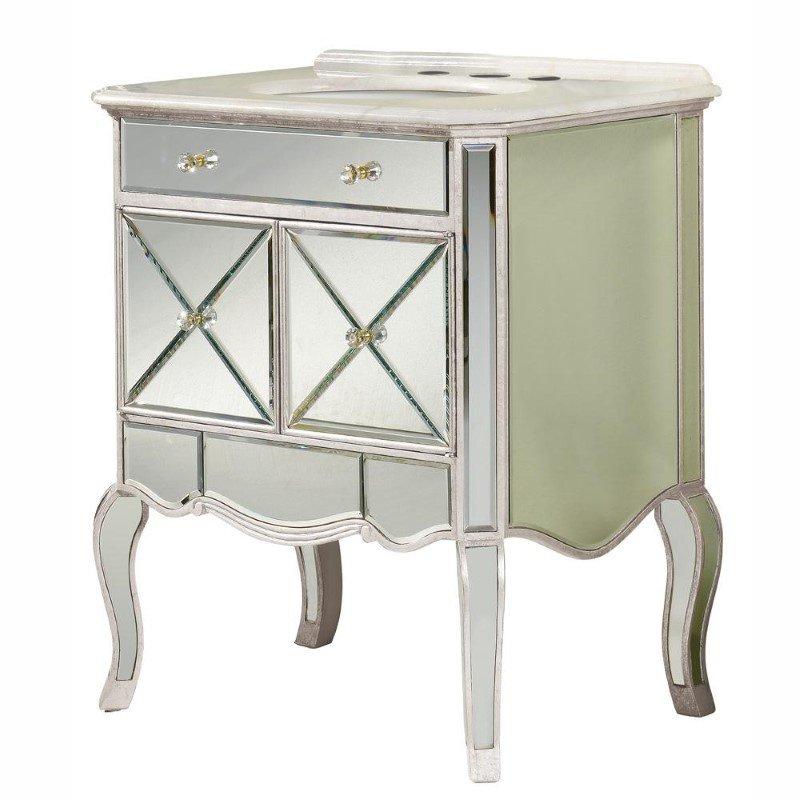 Elegant Decor 2 doors vanity cabinet 30 in. x 21 in. x 36 in. in Silver Leaf (MF3-5106SC)