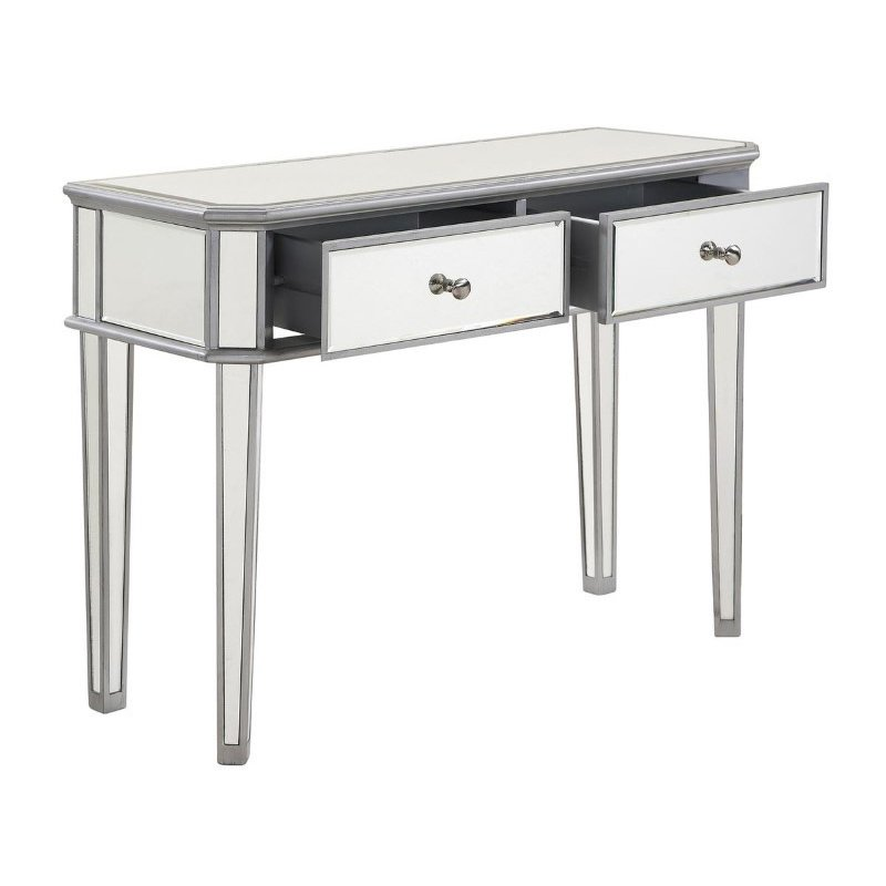 Elegant Decor 2 Drawer Rectangle Table 40 in. x 16 in. x 30 in. in Silver paint (MF6-1024S)