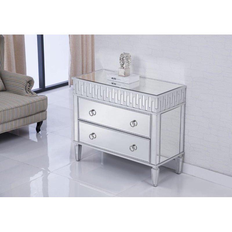 Elegant Decor 2 Drawers Cabinet 40 in. x 18 in. x 34 in. in Silver leaf (MF6-1045S)