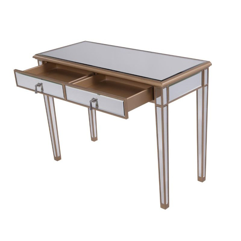 Elegant Decor 2 Drawers Dressing table 42 in. x 18 in. x 31 in. in Gold paint (MF6-1106G)