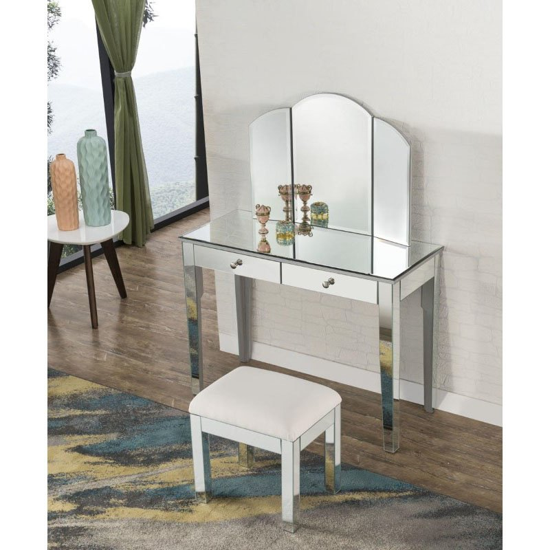 Elegant Decor 2 Drawers Dressing table 42 in. x 18 in. x 31 in. in Silver paint (MF6-1040S)
