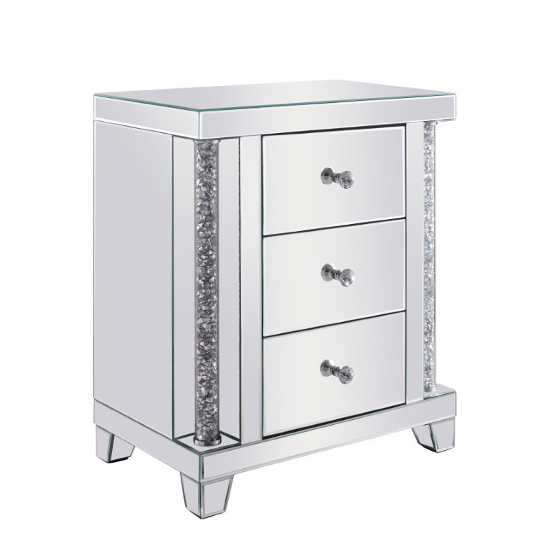 Elegant Decor 21.5 inch Crystal Bedside Table Silver Royal Cut Crystal (MF92011)