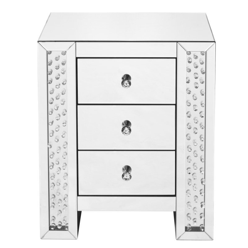 Elegant Decor 22 inch Crystal three drawers Bedside Table in Clear Mirror Finish (MF91006)