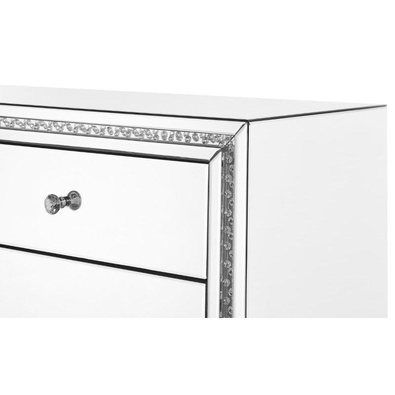 Elegant Decor 22 inch Crystal three drawers Bedside Table in Clear Mirror Finish (MF91012)