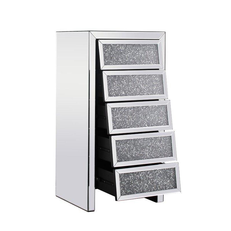 Elegant Decor 23.5 inch Crystal Cabinet Silver Royal Cut Crystal (MF92015)