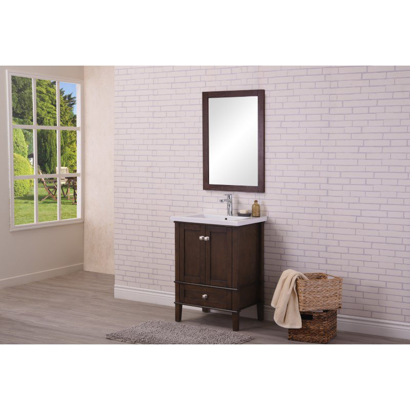 Elegant Decor 24 in. Single Bathroom Vanity Set in Antique Coffee (VF-2005)