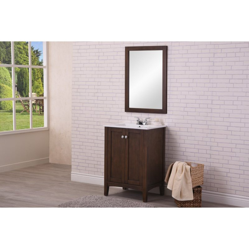 Elegant Decor 24 in. Single Bathroom Vanity Set in Antique Coffee (VF-2007)