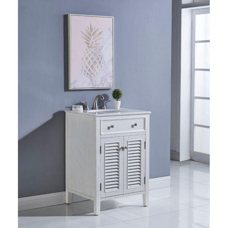 Elegant Decor 24 in. Single Bathroom Vanity Set in Antique White (VF10424AW)